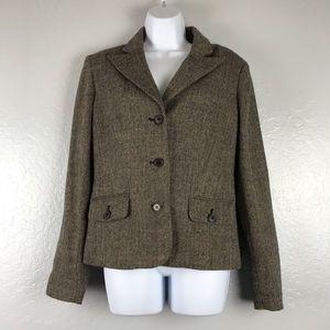 Anne Klein 8 Tweed Button Pocket Blazer